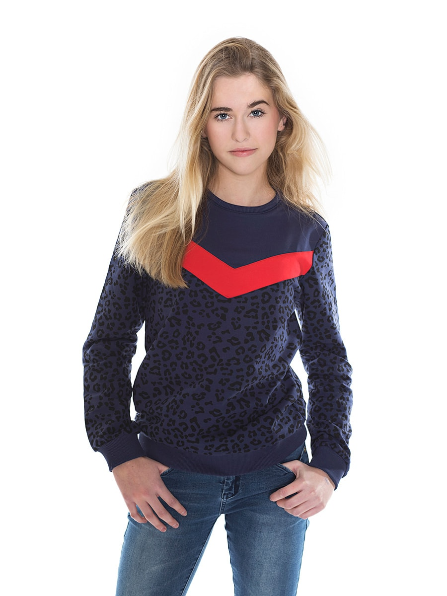 LEOPARD SWEAT navy